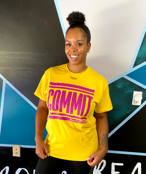 COMMIT Tee - Yellow w/ Magenta Tee