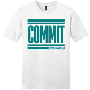 COMMIT Tee White w/ Teal
