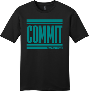 COMMIT Tee - Black w/ Teal Print
