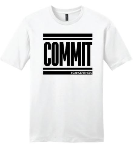 COMMIT Tee - White w/ Black Print