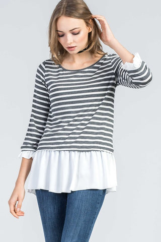 Charcoal Stripe Peplum Top