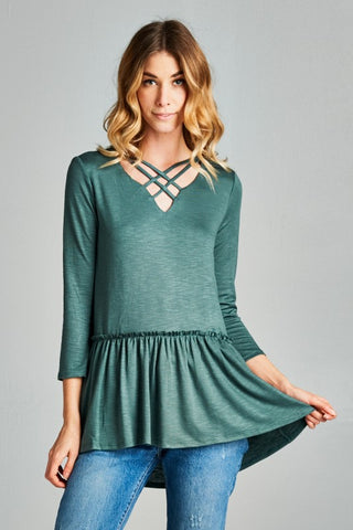 Strappy Peplum Top - Emerald Green