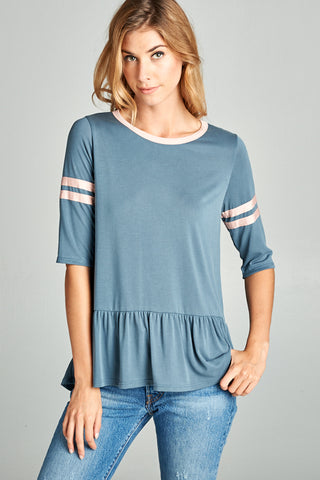 Dusty Blue Baseball Peplum