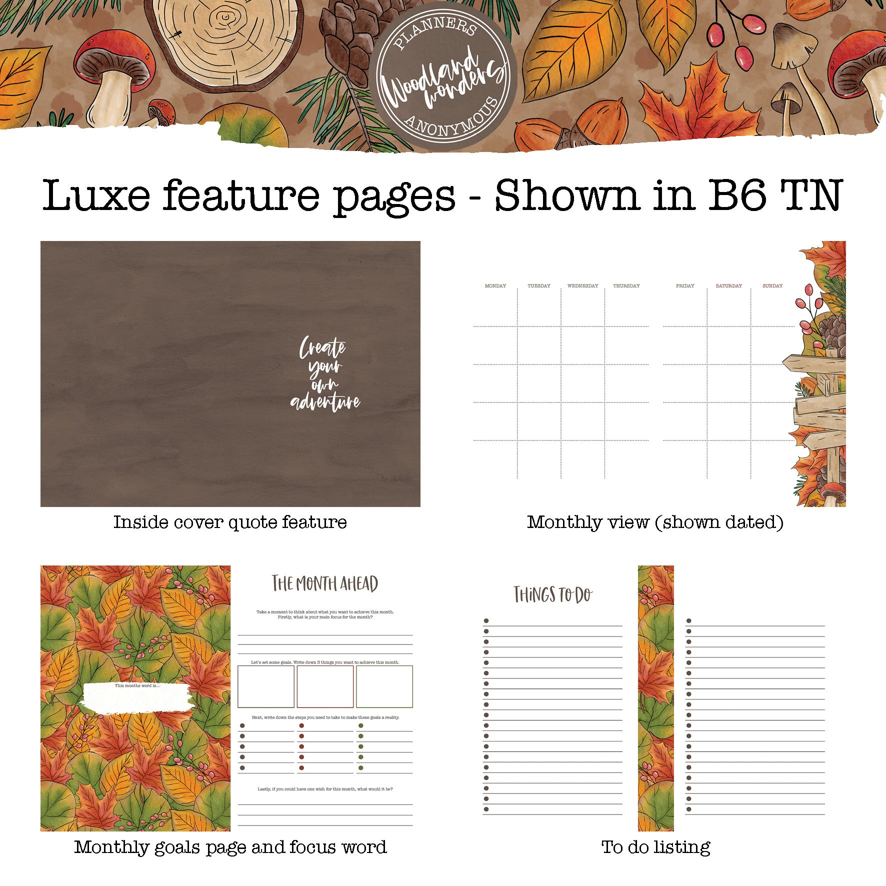 Woodland Wonders - Printable Inserts - Luxe Weekly