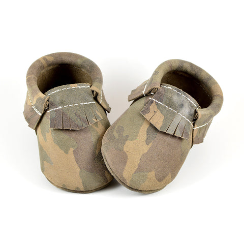 "RTS Green Camo Suede Moccasins Size 3 (12-18M)(5"")"