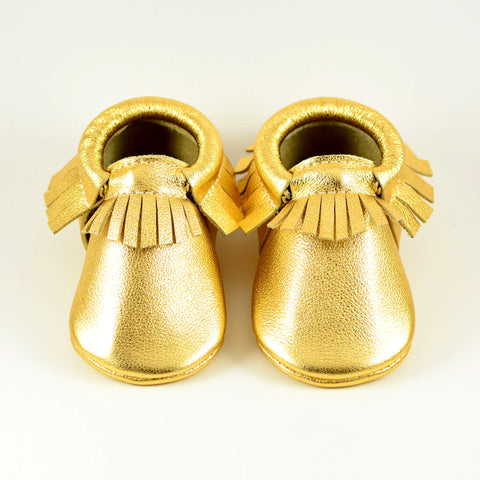 Gold Metal - Choose a Style! Moccasins (pictured) or Fringeless Moccs (No Fringes)