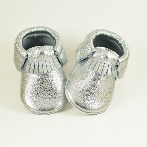 RTS Metal Silver Moccasins