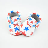 "RTS Red and Blue Star Spangled Moccasins With Red Leather Soles - Size 3 (12-18M)(5"") - Last Pair Left!"