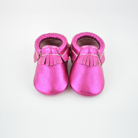 RTS Hot Pink Metallic Moccasins