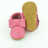 "RTS Bubblegum Bow Moccs With Tan Suede Leather Soles Size 3 (12-18M)(5"")"