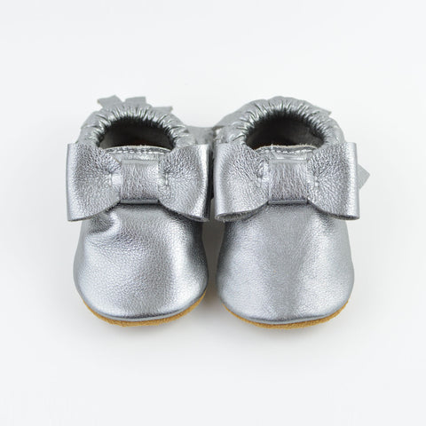 "RTS Gunmetal Bow Moccasins With Tan Suede Leather Soles Size 3 (12-18M)(5"")"