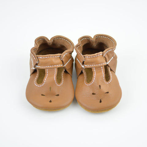 RTS Sweet Caramel T-Straps With Tan Suede Leather Soles