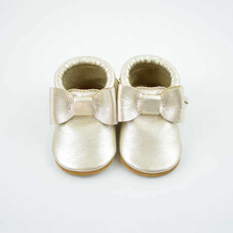 Champagne Bow Moccs/Moccasins/T-straps/Lokicks
