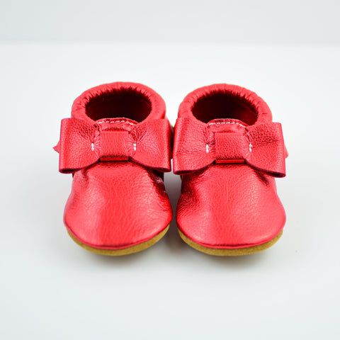 RTS Ruby Red Bow Moccs With Tan Suede Leather Soles