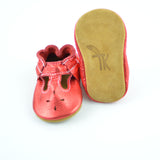 RTS Ruby Red T-Straps With Tan Suede Leather Soles