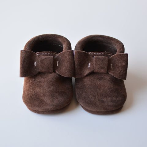 Chocolate Brown Suede Bow Moccs