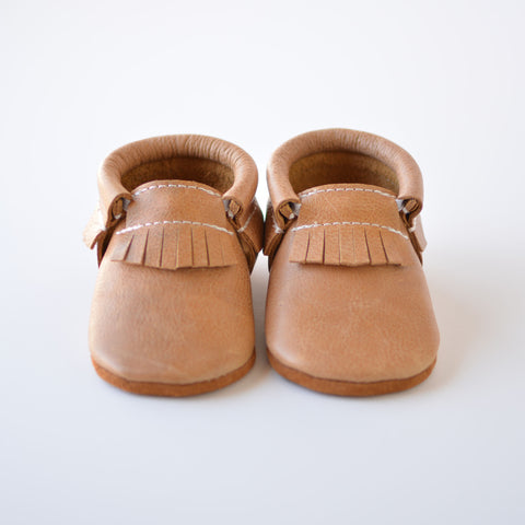 "RTS Golden Oak Moccasins with Tan Suede Leather Soles - Size 3 (5"") - LAST PAIR LEFT!"