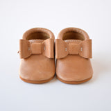 "RTS Golden Oak Bow Moccs with Tan Suede Leather Soles - Size 3 (5"") - LAST PAIR LEFT!"