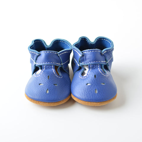 "RTS Maliblue T-straps With Tan Suede Leather Soles - Size 3 (12-18M)(5"")"