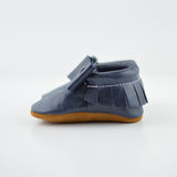 Sizes 4-7 - Navy Distressed - Bow Moccs and T-straps