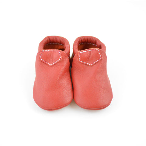 "RTS Classic Red Lokicks With Same Color Leather Soles - Size 2 (6-12M) (4.5"")"