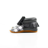 Monochrome Plaid - Sizes 0-3 - Choose a style! Bow Moccs (pictured) or T-straps
