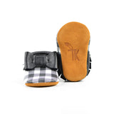 Monochrome Plaid - Sizes 4-7 - Choose a style! Bow Moccs (pictured) or T-straps