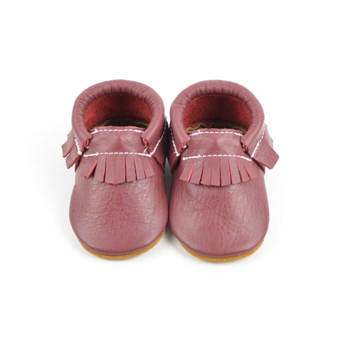 Cranberry - Choose a style! Moccasins (Pictured) or Fringeless Moccs (No Fringes)
