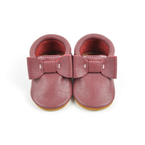 Cranberry - Sizes 4-7 - Choose a style! Bow Moccs (Pictured) or T-straps