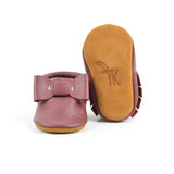 Cranberry - Sizes 0-3 - Choose a style! Bow Moccs (Pictured) or T-straps