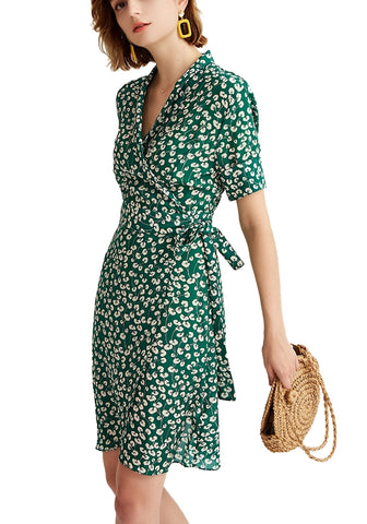 404ee2fef8438 Green floral print 100% silk wrap mini dress – NoNothing Fashion