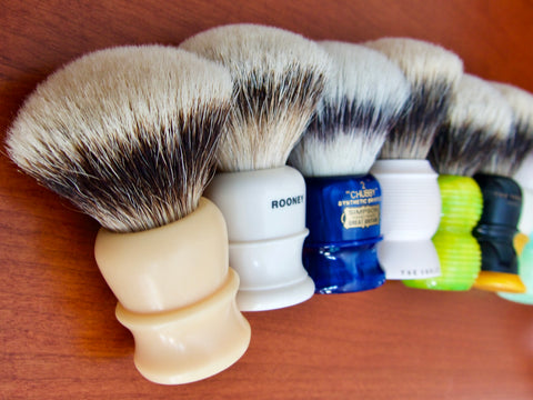 A shave brush has two components: a handle and a knot. While it is certainly possible to shave with a handleless brush knot, it isn't comfortable. Conversely, a handle without a knot can't make a lather at all. While a handsome, well shaped handle catches our eye first, priority should be given to the knot when choosing a shave brush. Only after deciding on the knot most appropriate for one's needs should handle choices come into the picture.