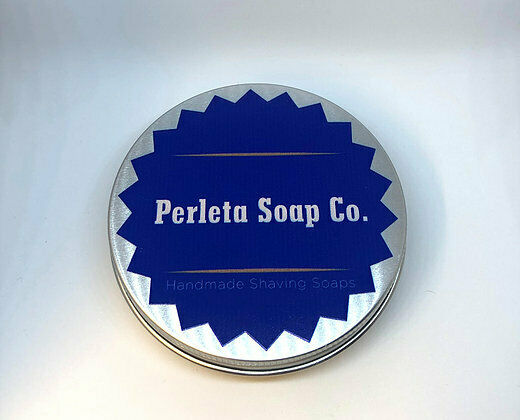 Perleta Soap Co., Perleta's Perfection, Shaving Soap Tin, Made in England,130g