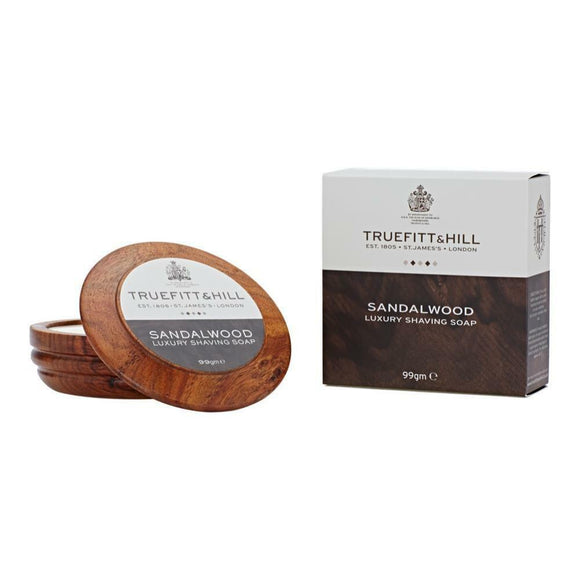 Truefitt & Hill Sandalwood Shaving Soap in Wooden Bowl