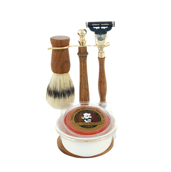 Col. Conk 5 Pc Gift set, W/ Mach 3 Razor, Boar Brush, Stand, Soap Puck, & Bowl