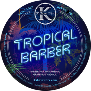 K Shave Worx - Tropical Barber  - Shave Soap, 4 oz