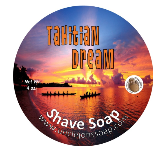 Uncle Jon's Natural Shave Soap- Tahitian Dream, 4oz Tub