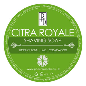 Phoenix and Beau Shave Soap -Citra Royale -  Imported From the  U.K.