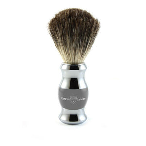 Edwin Jagger Grey & Chrome Pure Badger Shaving Brush