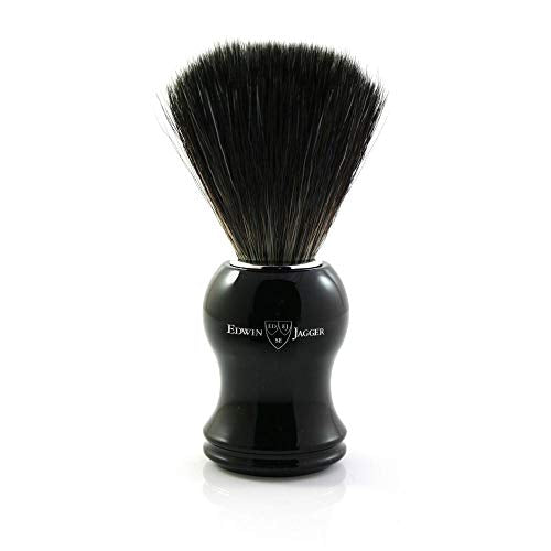 Edwin Jagger Black Synthetic Fiber Shaving Brush Black
