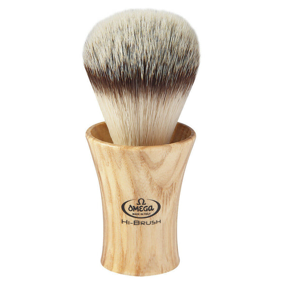 Omega Premium Hi-BRUSH Synthetic Fiber Shave Brush w/ Ash Wood Handle 0146713