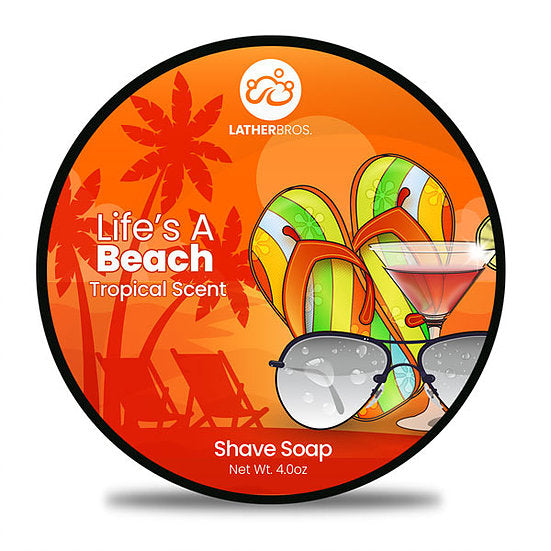 Lather Bros. Life's A Beach, 4 oz Shave Soap