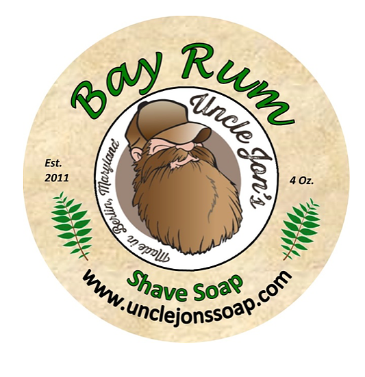 Uncle Jon's Shave Soap, Bay Rum, 2oz Tub