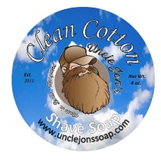Uncle Jon's Shave Soap Clean Cotton, 2oz Tub