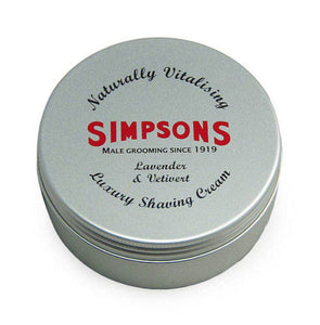 Simpsons Shaving Cream, Lavender & Vetivert, 125ml Tin