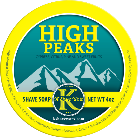 K Shave Worx - High Peaks  - Shave Soap, 4 oz