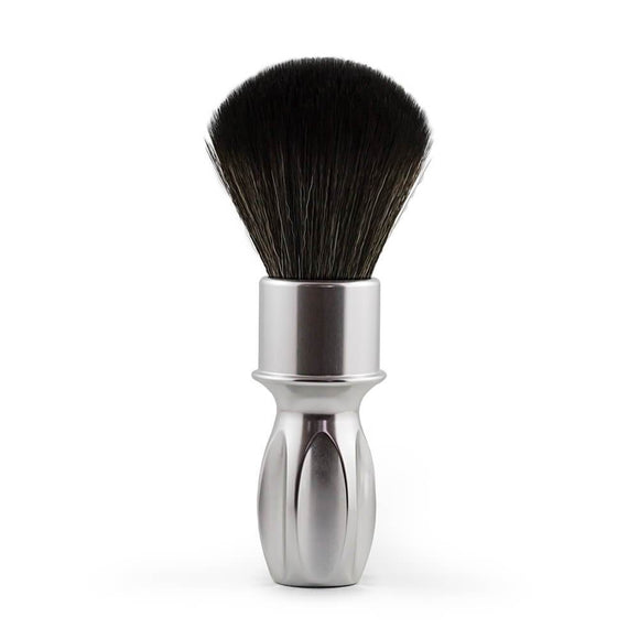 (SPECIAL EDITION) RazoRock 400 Synthetic Shaving Brush - Silver Handle With NOIR Plissoft