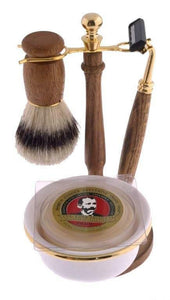 Col. Conk 5 Pc Wood Shave set, W/ Double Track  Razor, Brush, Stand, Soap, & Bowl