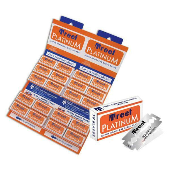 100 Treet Platinum Super Stainless DE Blades, 10 Packs Of 10