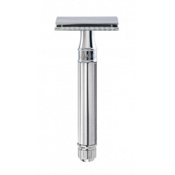 Edwin Jagger DE89 Knurled DE Double Edge Safety Razor (Chrome)